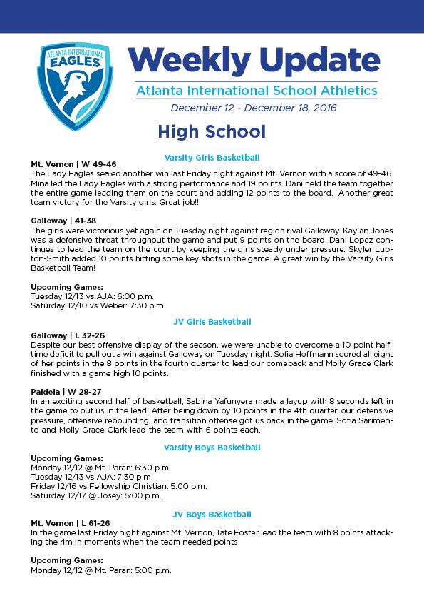 AIS ATHLETIC UPDATE 12/12-12/18 – AIS Athletics